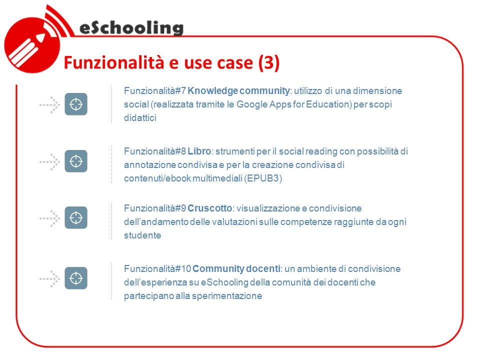 Funzionalità e use case (3) Funzionalità#9 Cruscotto: visualizzazione e condivisione dell'andamento delle valutazioni sulle competenze raggiunte da og