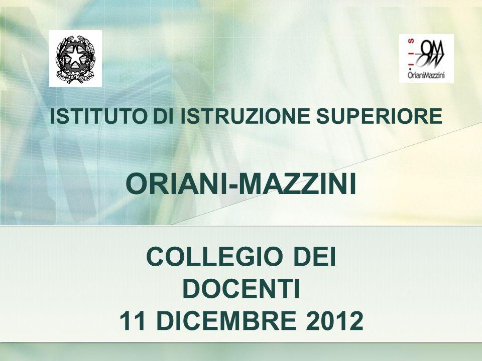 ISTITUTO DI ISTRUZIONE SUPERIORE COLLEGIO DEI DOCENTI 11 DICEMBRE 2012 ORIANI-MAZZINI