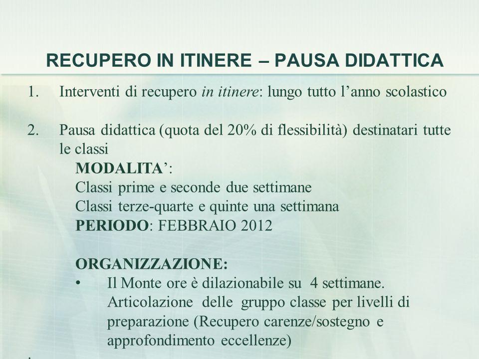 RECUPERO IN ITINERE – PAUSA DIDATTICA 1.Interventi di recupero in itinere: lungo tutto l'anno scolastico 2.Pausa didattica (quota del 20% di flessibilità) destinatari tutte le classi MODALITA': Classi prime e seconde due settimane Classi terze-quarte e quinte una settimana PERIODO: FEBBRAIO 2012 ORGANIZZAZIONE: Il Monte ore è dilazionabile su 4 settimane.