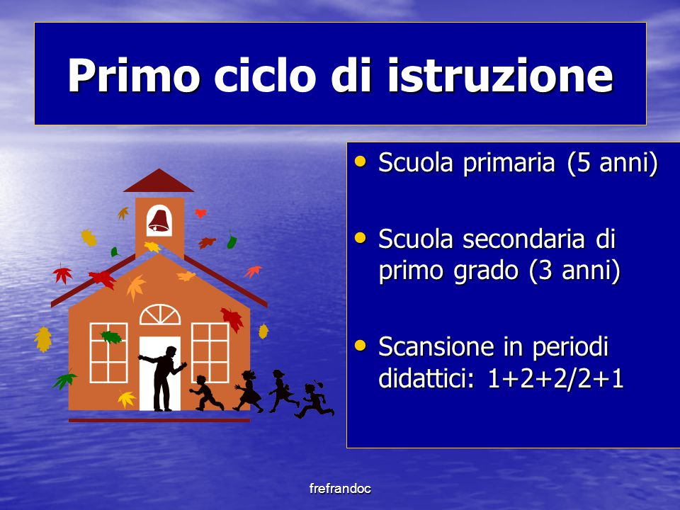 frefrandoc Primo di istruzione Primo ciclo di istruzione Scuola primaria (5 anni) Scuola primaria (5 anni) Scuola secondaria di primo grado (3 anni) Scuola secondaria di primo grado (3 anni) Scansione in periodi didattici: 1+2+2/2+1 Scansione in periodi didattici: 1+2+2/2+1