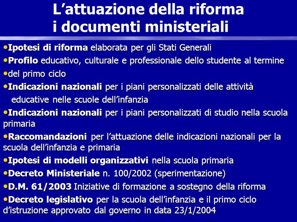 frefrandoc L'attuazione della riforma i documenti ministeriali Ipotesi di riforma elaborata per gli Stati Generali Ipotesi di riforma elaborata per gl