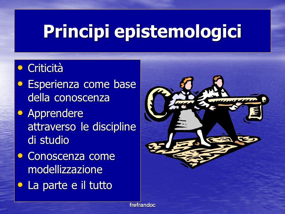 frefrandoc Principi epistemologici Criticità Criticità Esperienza come base della conoscenza Esperienza come base della conoscenza Apprendere attraverso le discipline di studio Apprendere attraverso le discipline di studio Conoscenza come modellizzazione Conoscenza come modellizzazione La parte e il tutto La parte e il tutto