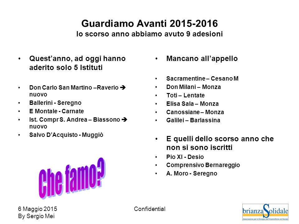 6 Maggio 2015 By Sergio Mei Confidential Guardiamo Avanti 2015-2016 lo scorso anno abbiamo avuto 9 adesioni Quest'anno, ad oggi hanno aderito solo 5 I