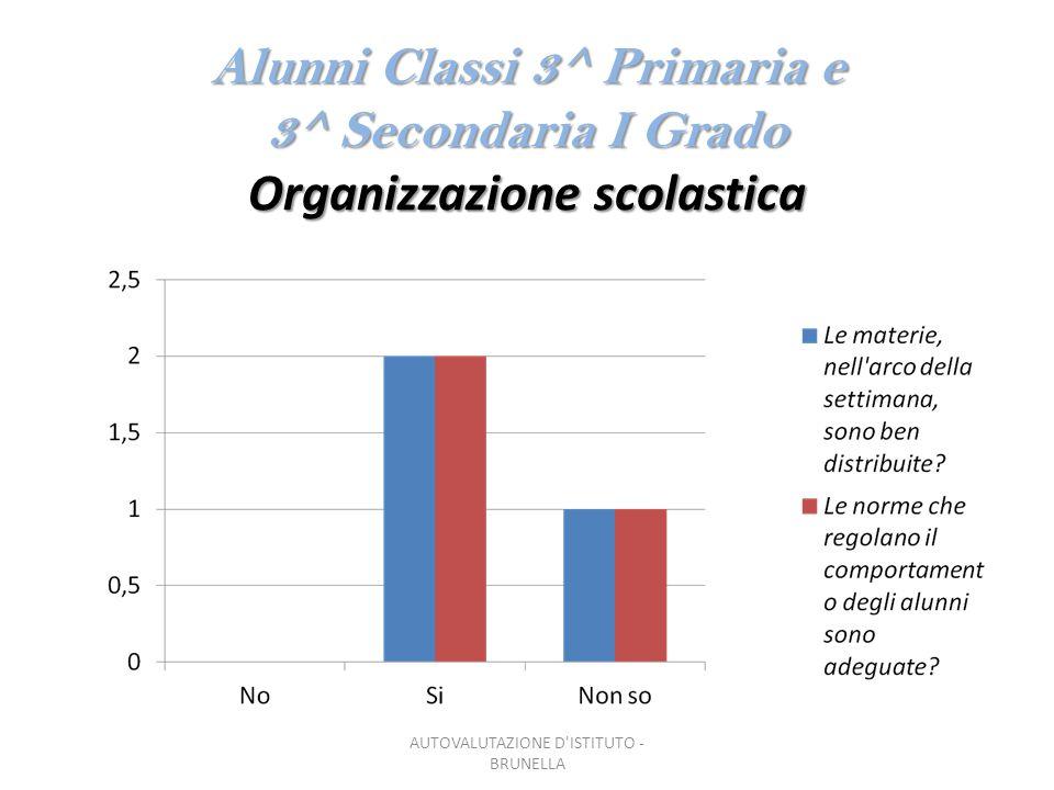 Alunni Classi 3^ Primaria e 3^ Secondaria I Grado Organizzazione scolastica AUTOVALUTAZIONE D ISTITUTO - BRUNELLA
