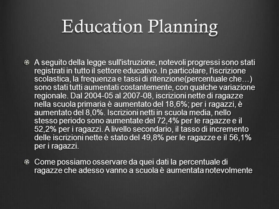 Education Planning A seguito della legge sull istruzione, notevoli progressi sono stati registrati in tutto il settore educativo.