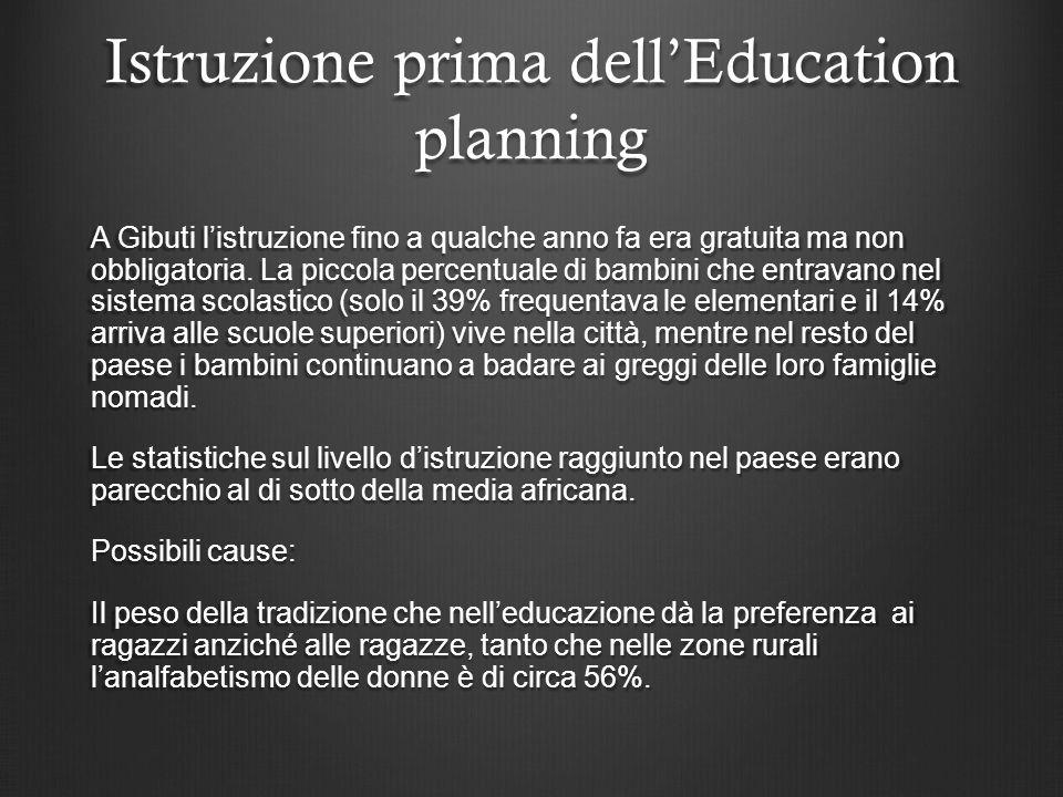 Istruzione prima dell'Education planning A Gibuti l'istruzione fino a qualche anno fa era gratuita ma non obbligatoria.