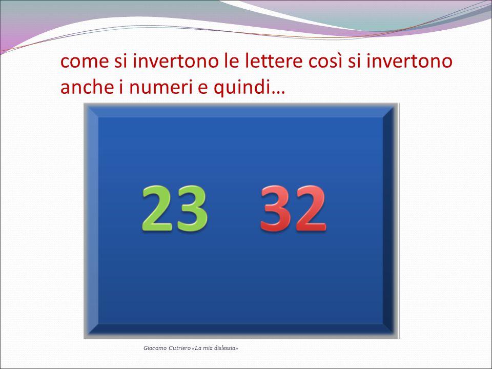 come si invertono le lettere così si invertono anche i numeri e quindi… Giacomo Cutriero «La mia dislessia»