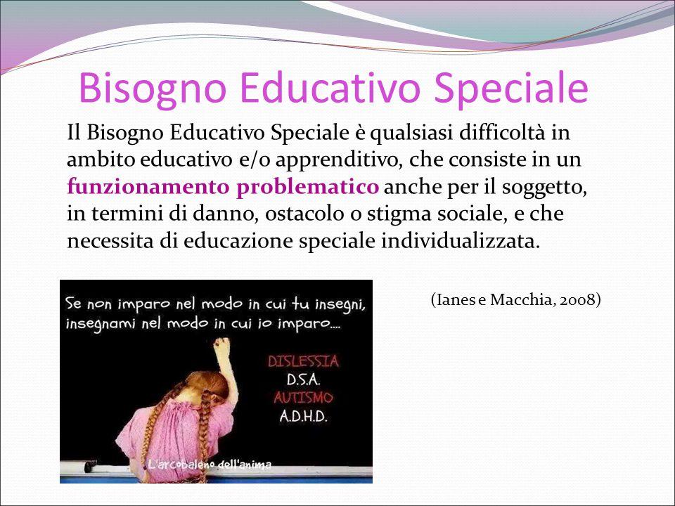 Bisogno Educativo Speciale Il Bisogno Educativo Speciale è qualsiasi difficoltà in ambito educativo e/o apprenditivo, che consiste in un funzionamento