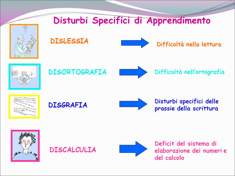 DISLESSIA DISORTOGRAFIA DISGRAFIA DISCALCULIA Disturbi specifici delle prassie della scrittura Difficoltà nell'ortografia Difficoltà nella lettura Def
