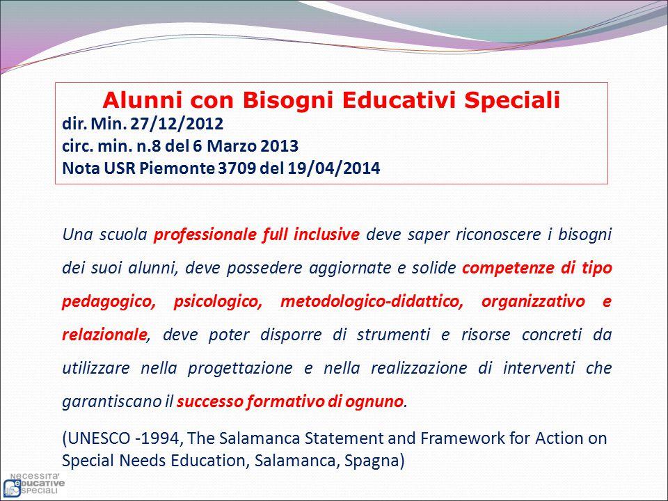 Alunni con Bisogni Educativi Speciali dir. Min. 27/12/2012 circ. min. n.8 del 6 Marzo 2013 Nota USR Piemonte 3709 del 19/04/2014 Una scuola profession