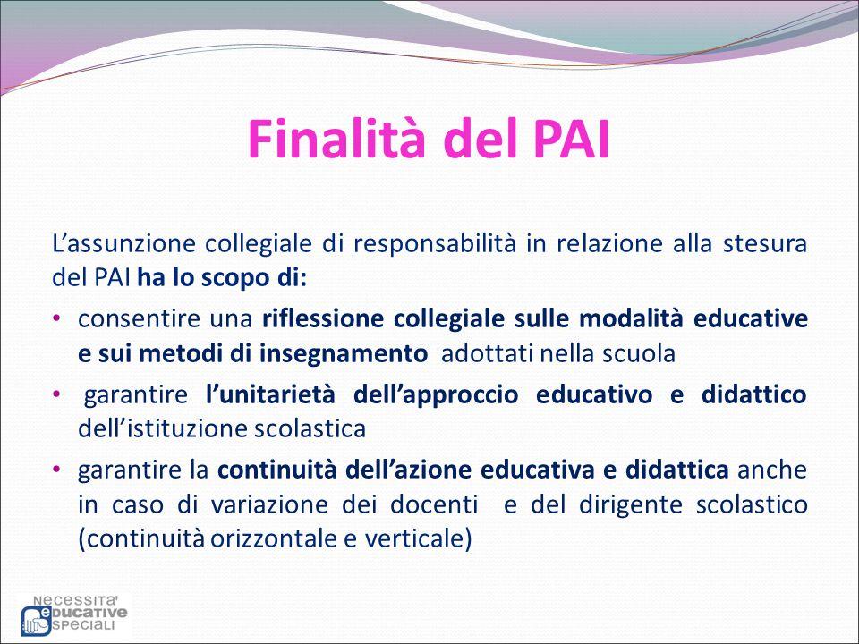 Finalità del PAI L'assunzione collegiale di responsabilità in relazione alla stesura del PAI ha lo scopo di: consentire una riflessione collegiale sul