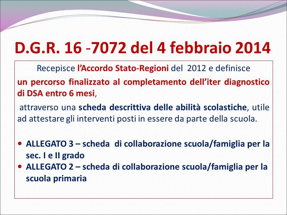 D.G.R. 16 -7072 del 4 febbraio 2014 Recepisce l'Accordo Stato-Regioni del 2012 e definisce un percorso finalizzato al completamento dell'iter diagnost