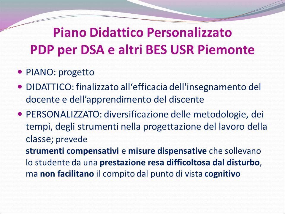 Piano Didattico Personalizzato PDP per DSA e altri BES USR Piemonte PIANO: progetto DIDATTICO: finalizzato all'efficacia dell'insegnamento del docente