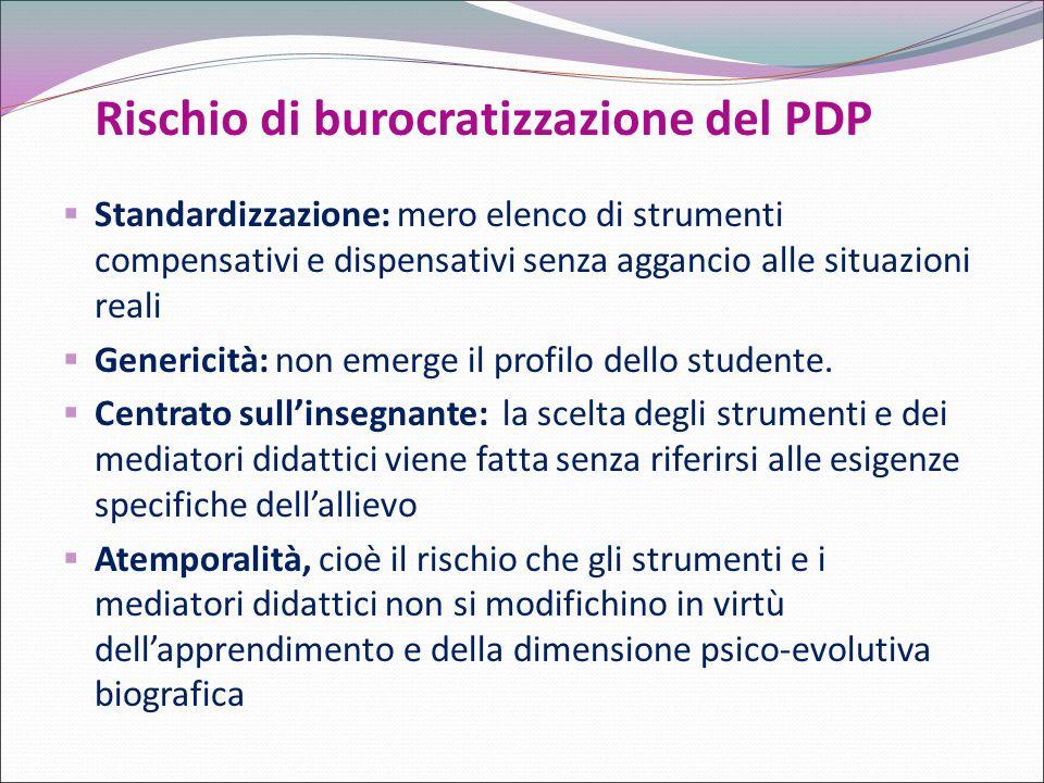 Rischio di burocratizzazione del PDP  Standardizzazione: mero elenco di strumenti compensativi e dispensativi senza aggancio alle situazioni reali 