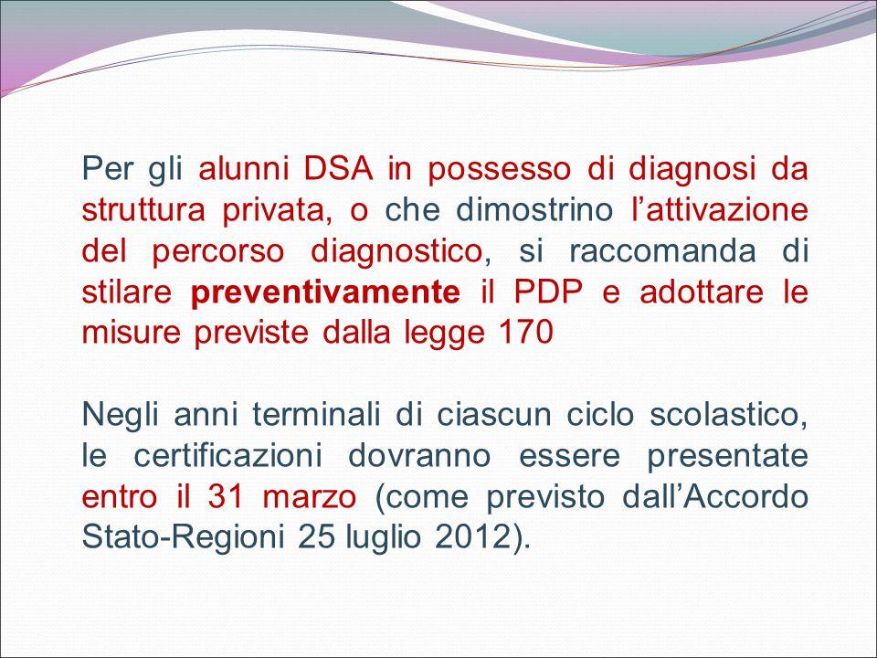 Per gli alunni DSA in possesso di diagnosi da struttura privata, o che dimostrino l'attivazione del percorso diagnostico, si raccomanda di stilare pre