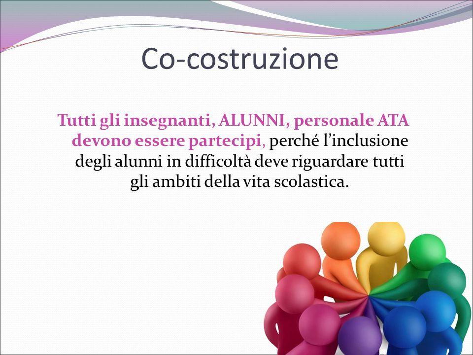 Co-costruzione Tutti gli insegnanti, ALUNNI, personale ATA devono essere partecipi, perché l'inclusione degli alunni in difficoltà deve riguardare tut