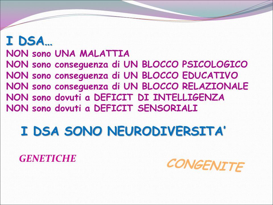 GENETICHE I DSA… NON sono UNA MALATTIA NON sono conseguenza di UN BLOCCO PSICOLOGICO NON sono conseguenza di UN BLOCCO EDUCATIVO NON sono conseguenza