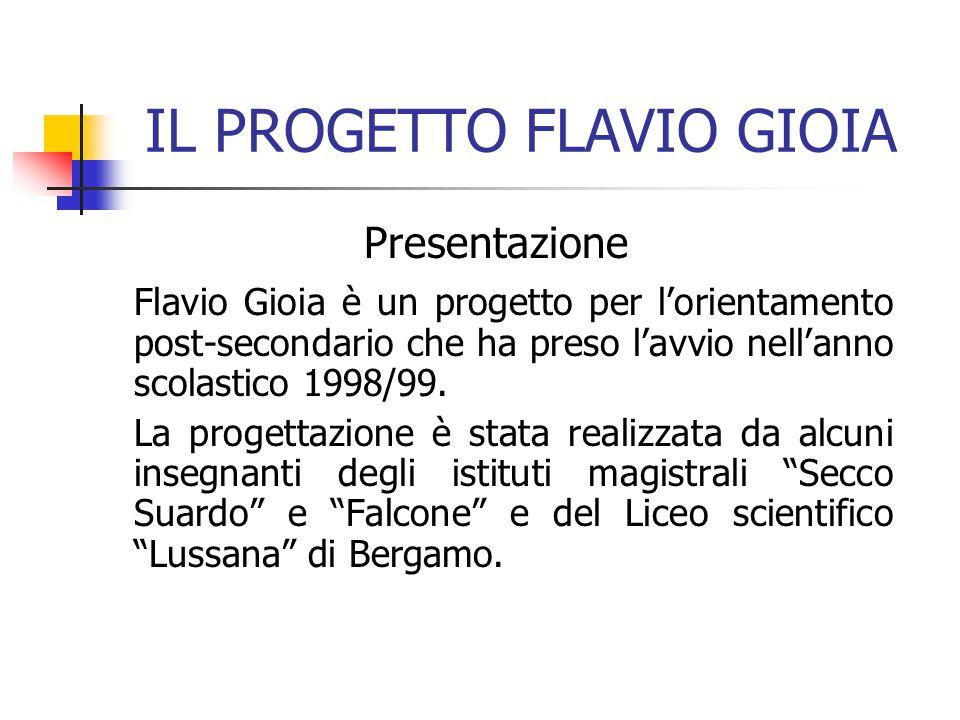 IL PROGETTO FLAVIO GIOIA Presentazione Flavio Gioia è un progetto per l'orientamento post-secondario che ha preso l'avvio nell'anno scolastico 1998/99