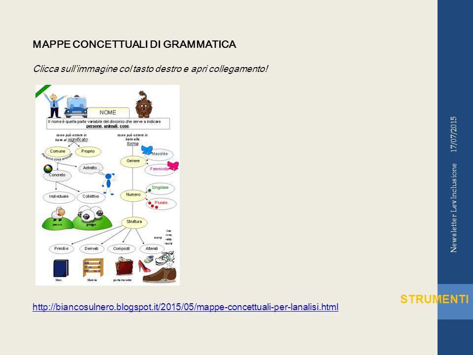 17/07/2015 Newsletter LevInclusione STRUMENTI MAPPE CONCETTUALI DI GRAMMATICA Clicca sull'immagine col tasto destro e apri collegamento.