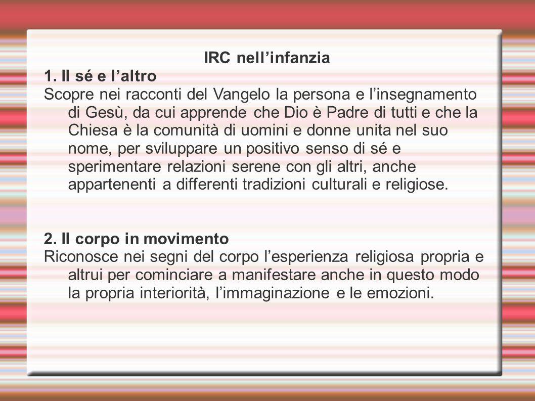 IRC nell'infanzia 1. Il sé e l'altro Scopre nei racconti del Vangelo la persona e l'insegnamento di Gesù, da cui apprende che Dio è Padre di tutti e c