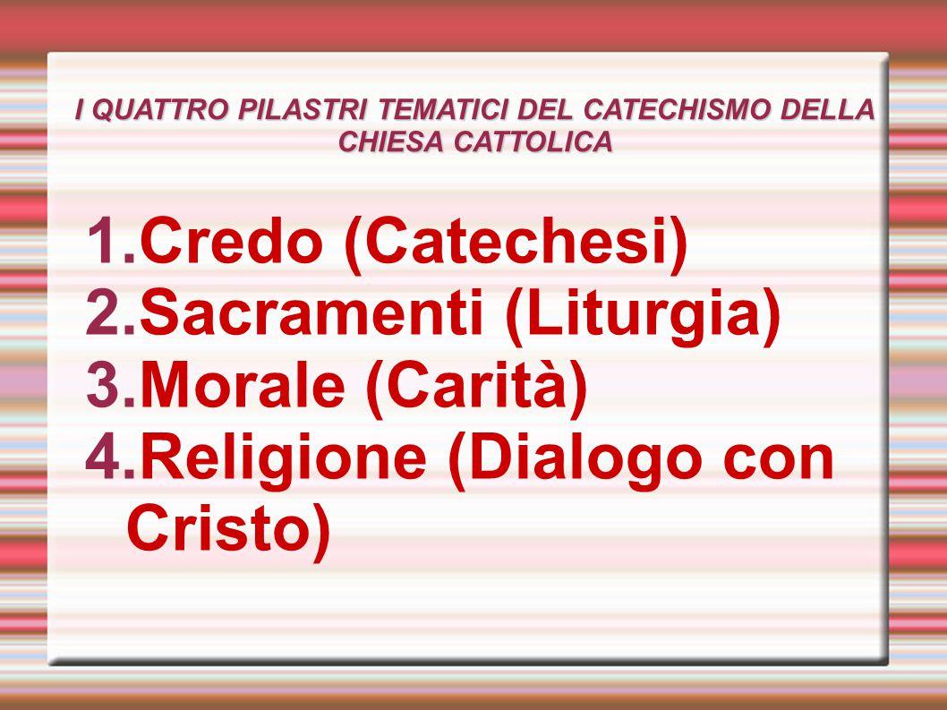 I QUATTRO PILASTRI TEMATICI DEL CATECHISMO DELLA CHIESA CATTOLICA 1.Credo (Catechesi) 2.Sacramenti (Liturgia) 3.Morale (Carità) 4.Religione (Dialogo c