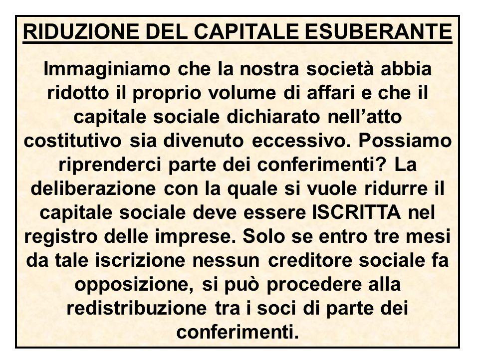 Se si verifica una perdita del capitale sociale, non può farsi luogo a RIPARTIZIONE DI UTILE, fino a che il capitale non sia reintegrato. Se non vi fo