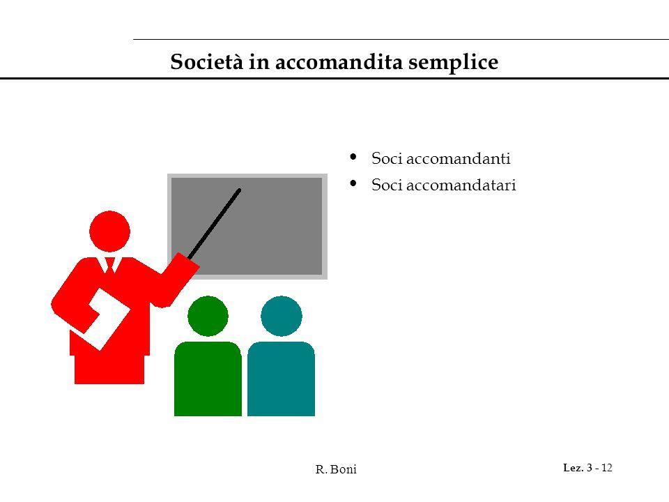 R. Boni Lez. 3 - 12 Società in accomandita semplice Soci accomandanti Soci accomandatari