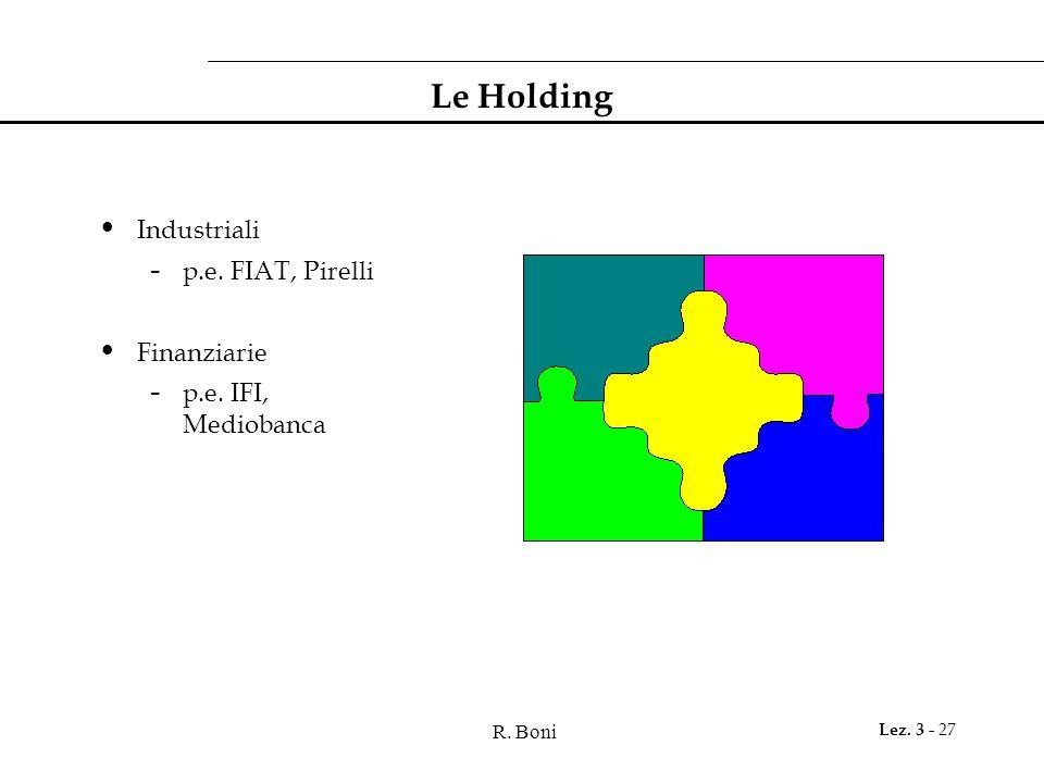 R. Boni Lez. 3 - 27 Le Holding Industriali - p.e. FIAT, Pirelli Finanziarie - p.e. IFI, Mediobanca