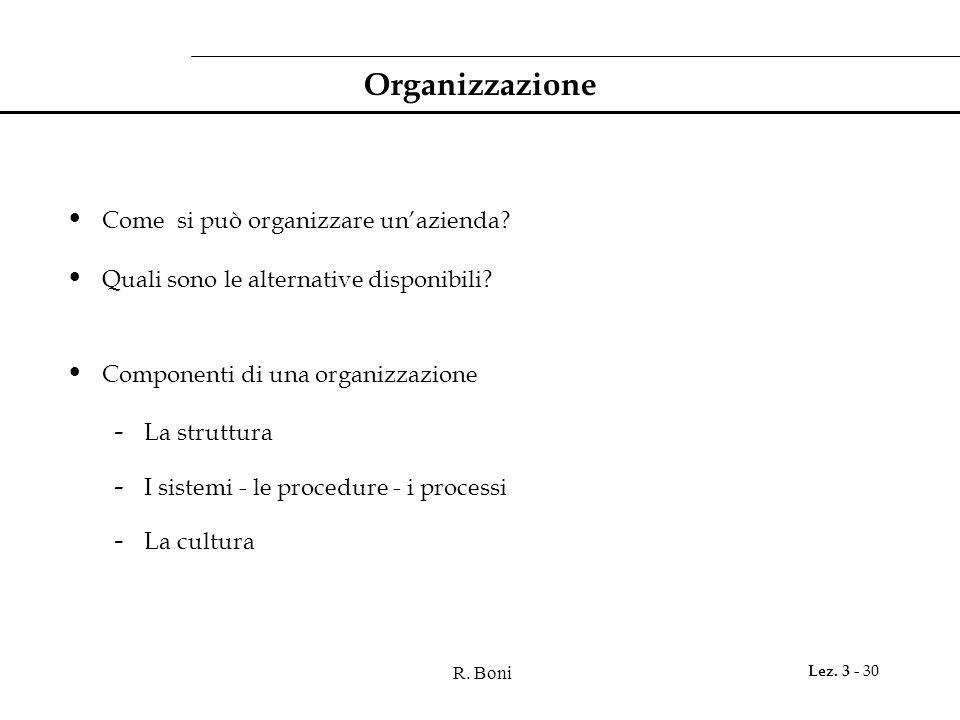 R. Boni Lez. 3 - 30 Organizzazione Come si può organizzare un'azienda? Quali sono le alternative disponibili? Componenti di una organizzazione - La st