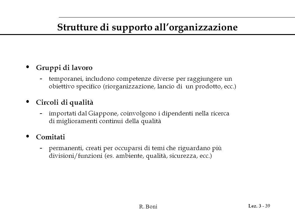 R. Boni Lez. 3 - 39 Strutture di supporto all'organizzazione Gruppi di lavoro - temporanei, includono competenze diverse per raggiungere un obiettivo