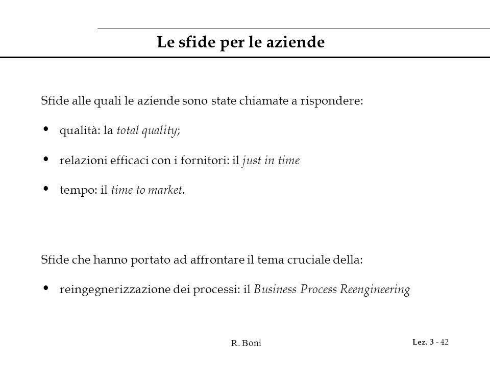 R. Boni Lez. 3 - 42 Le sfide per le aziende Sfide alle quali le aziende sono state chiamate a rispondere: qualità: la total quality ; relazioni effica