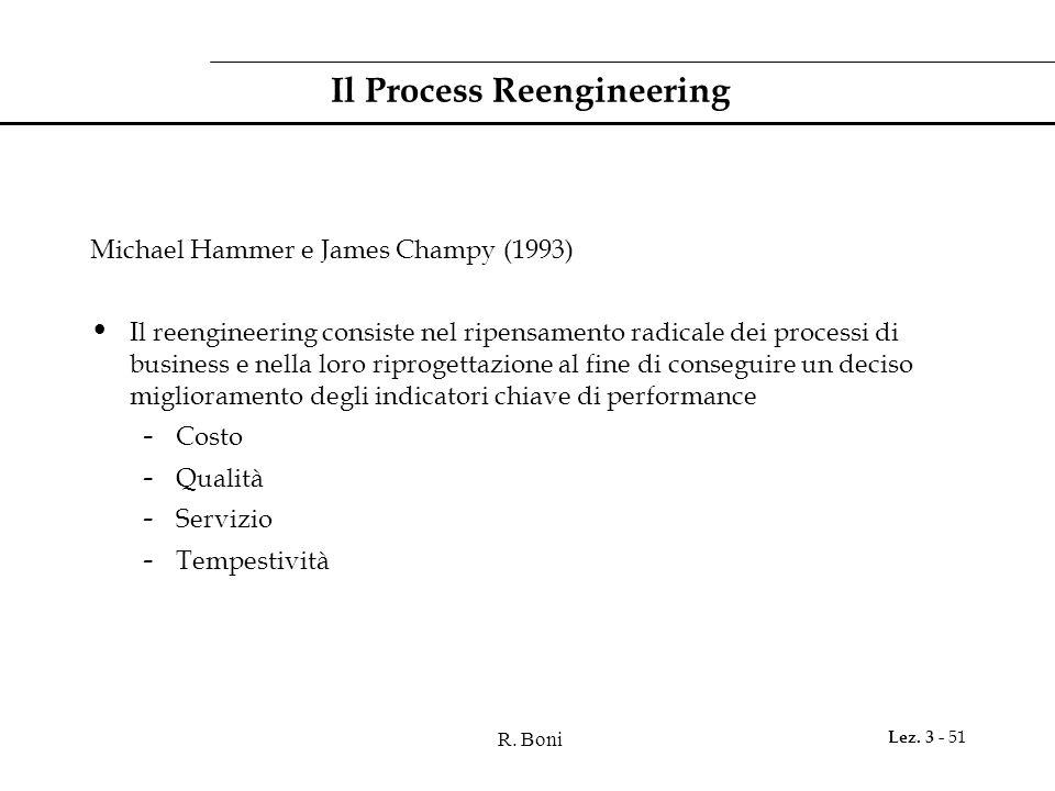 R. Boni Lez. 3 - 51 Il Process Reengineering Michael Hammer e James Champy (1993) Il reengineering consiste nel ripensamento radicale dei processi di