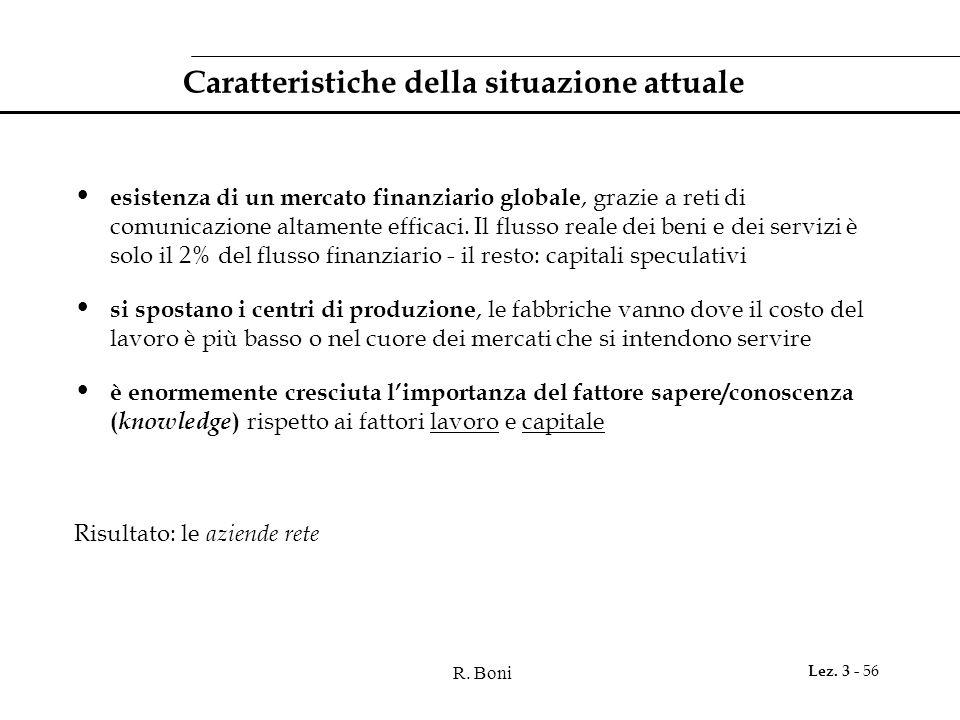 R. Boni Lez. 3 - 56 Caratteristiche della situazione attuale esistenza di un mercato finanziario globale, grazie a reti di comunicazione altamente eff