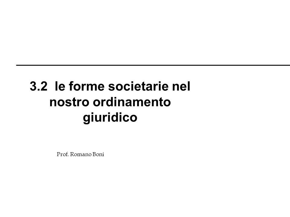 R. Boni Lez. 3 - 6 Prof. Romano Boni 3.2 le forme societarie nel nostro ordinamento giuridico