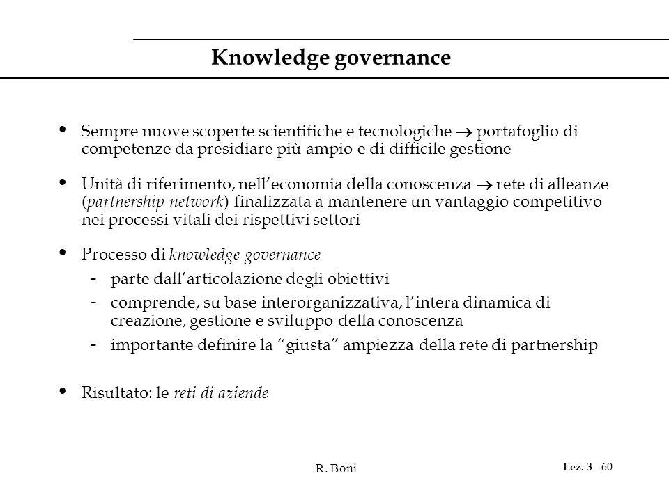 R. Boni Lez. 3 - 60 Knowledge governance Sempre nuove scoperte scientifiche e tecnologiche  portafoglio di competenze da presidiare più ampio e di di