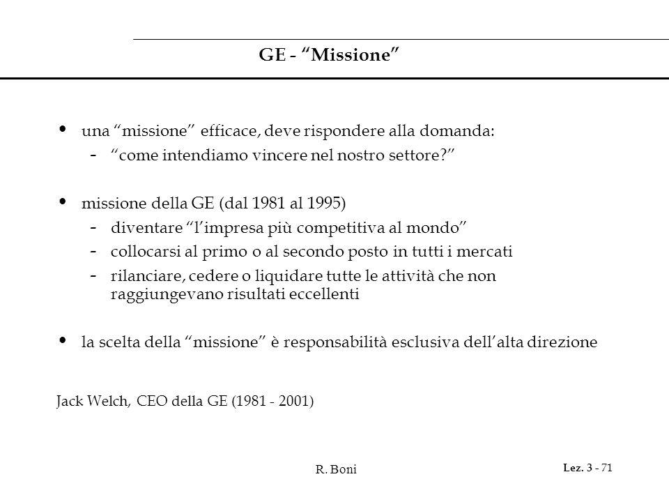 """R. Boni Lez. 3 - 71 GE - """"Missione"""" una """"missione"""" efficace, deve rispondere alla domanda: - """"come intendiamo vincere nel nostro settore?"""" missione de"""