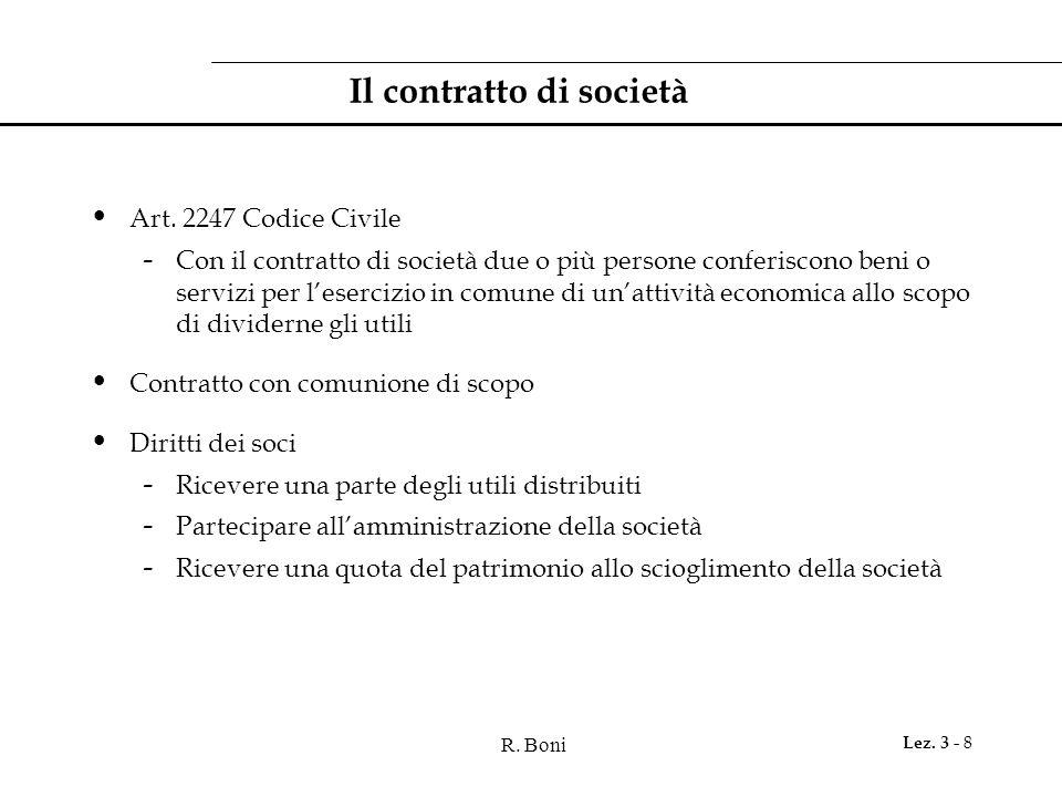 R. Boni Lez. 3 - 8 Il contratto di società Art. 2247 Codice Civile - Con il contratto di società due o più persone conferiscono beni o servizi per l'e