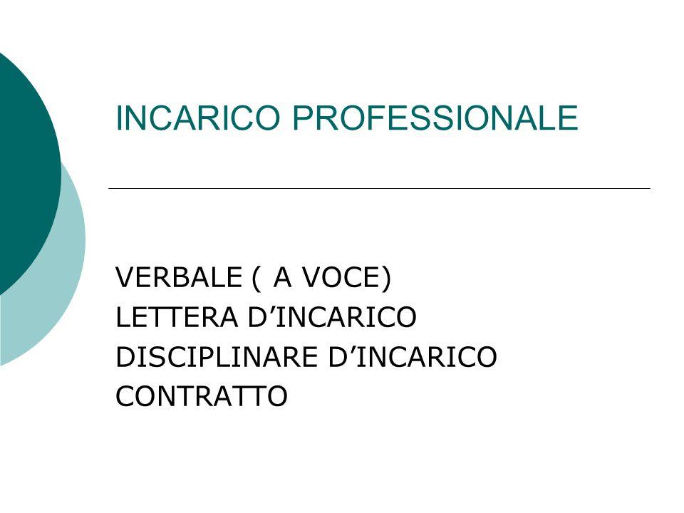 INCARICO PROFESSIONALE VERBALE ( A VOCE) LETTERA D'INCARICO DISCIPLINARE D'INCARICO CONTRATTO