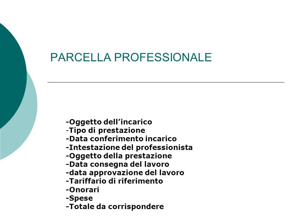 PARCELLA PROFESSIONALE -Oggetto dell'incarico -Tipo di prestazione -Data conferimento incarico -Intestazione del professionista -Oggetto della prestaz