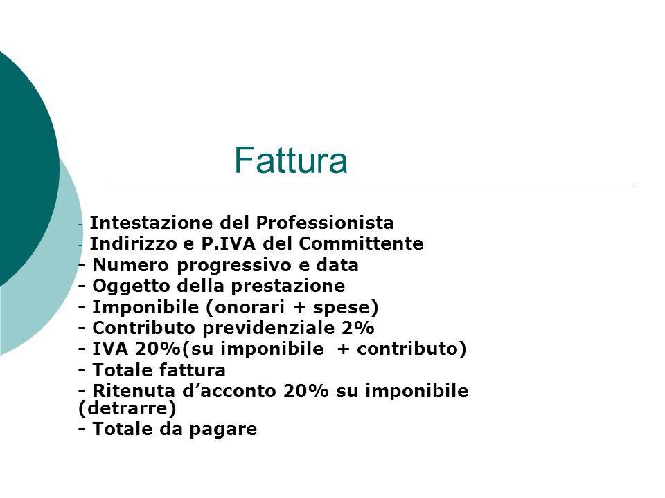Fattura - Intestazione del Professionista - Indirizzo e P.IVA del Committente - Numero progressivo e data - Oggetto della prestazione - Imponibile (on