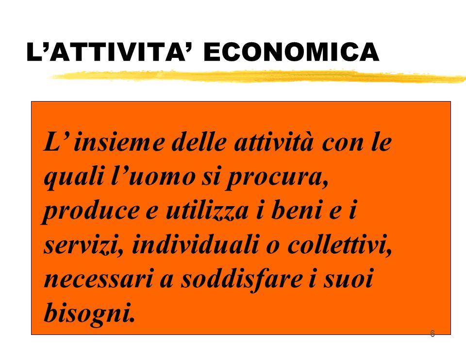 L'ATTIVITA' ECONOMICA L' insieme delle attività con le quali l'uomo si procura, produce e utilizza i beni e i servizi, individuali o collettivi, necessari a soddisfare i suoi bisogni.