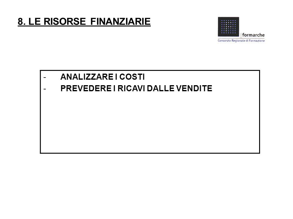 8. LE RISORSE FINANZIARIE -ANALIZZARE I COSTI -PREVEDERE I RICAVI DALLE VENDITE