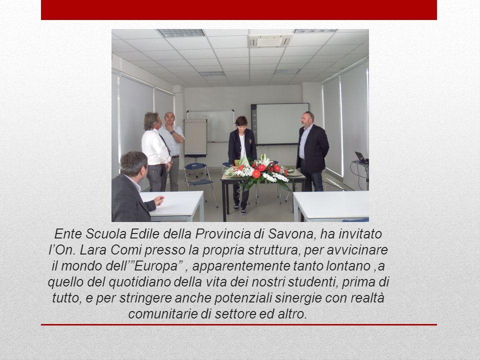 """Ente Scuola Edile della Provincia di Savona, ha invitato l'On. Lara Comi presso la propria struttura, per avvicinare il mondo dell'""""Europa"""", apparente"""