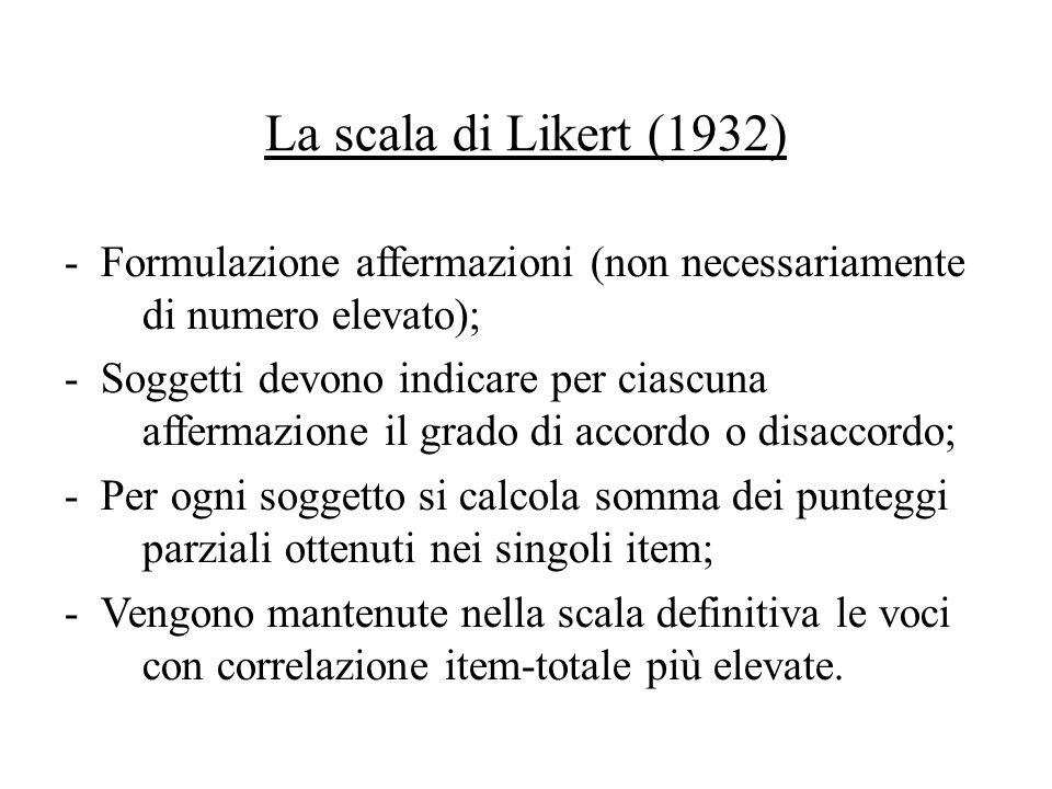 La scala di Likert (1932) - Formulazione affermazioni (non necessariamente di numero elevato); - Soggetti devono indicare per ciascuna affermazione il