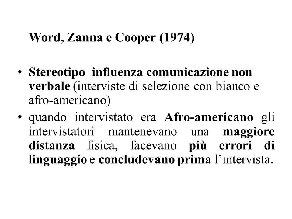 Word, Zanna e Cooper (1974) Stereotipo influenza comunicazione non verbale (interviste di selezione con bianco e afro-americano) quando intervistato e