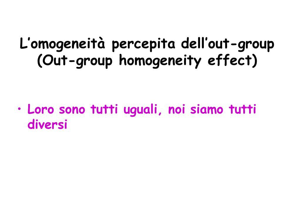 L'omogeneità percepita dell'out-group (Out-group homogeneity effect) Loro sono tutti uguali, noi siamo tutti diversi