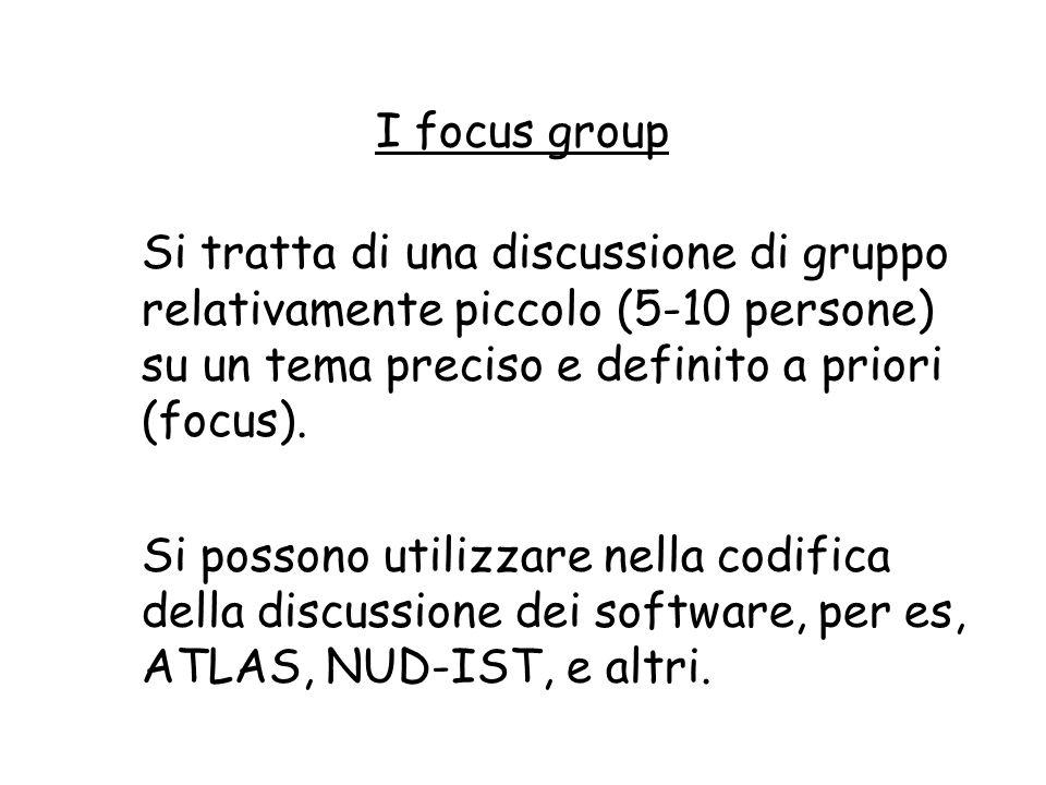 I focus group Si tratta di una discussione di gruppo relativamente piccolo (5-10 persone) su un tema preciso e definito a priori (focus). Si possono u