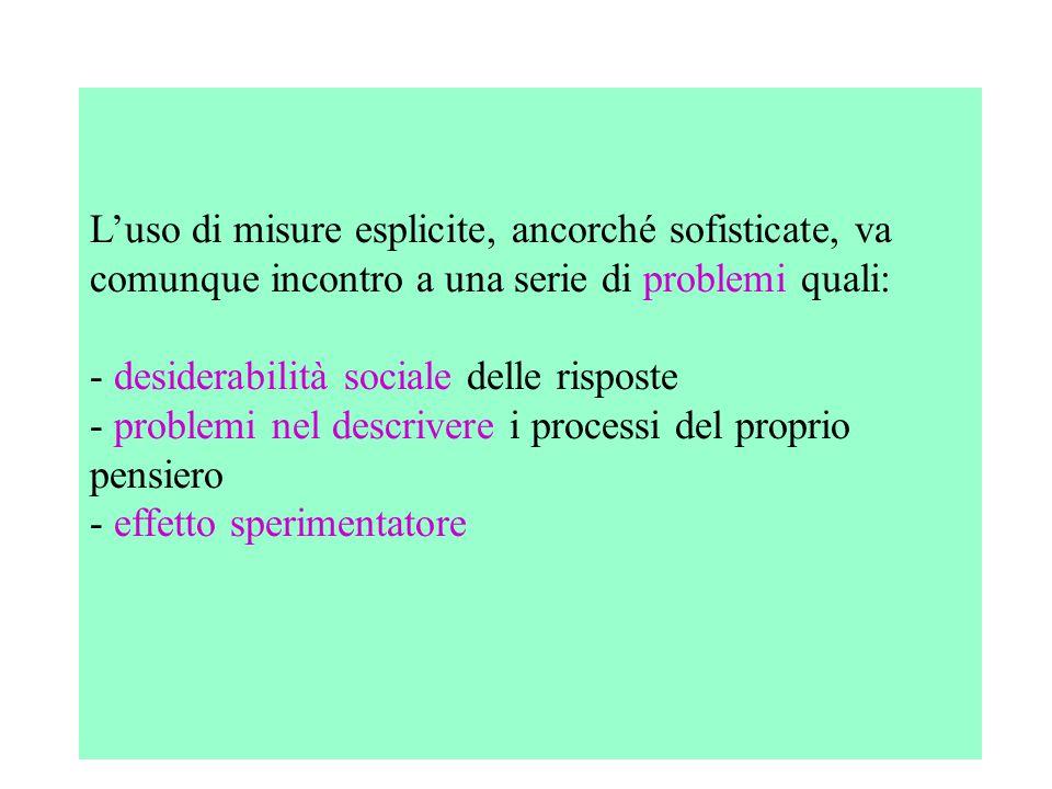 L'uso di misure esplicite, ancorché sofisticate, va comunque incontro a una serie di problemi quali: - desiderabilità sociale delle risposte - problem