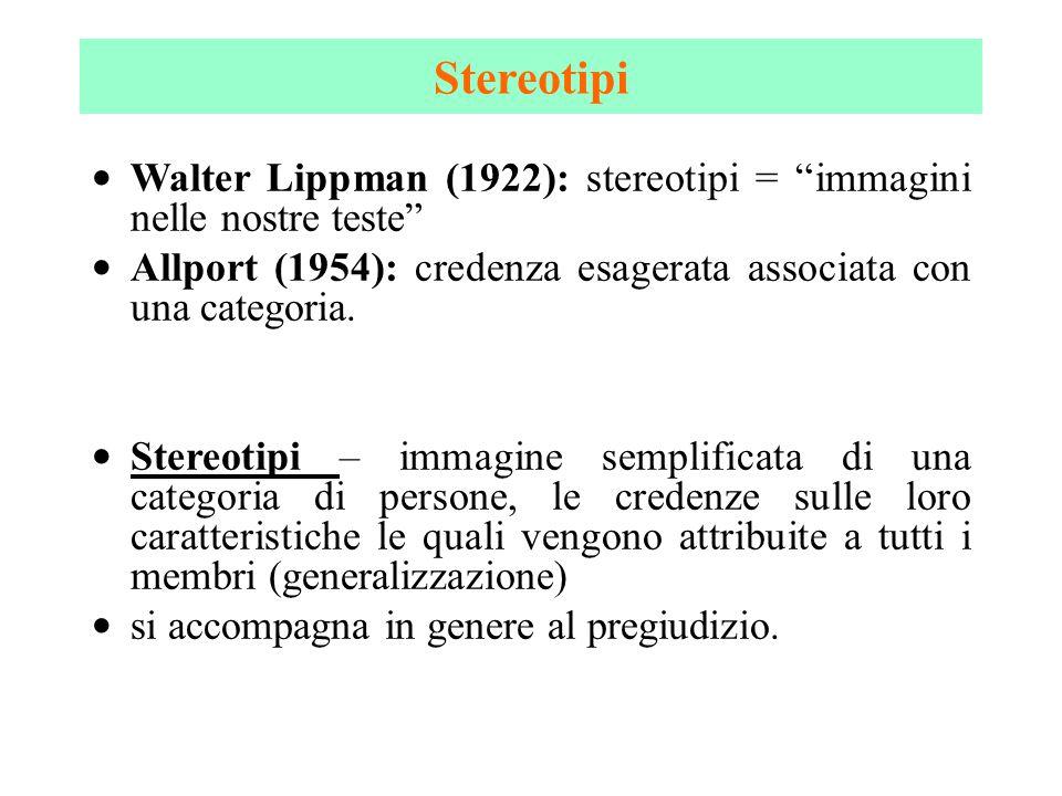 """Walter Lippman (1922): stereotipi = """"immagini nelle nostre teste"""" Allport (1954): credenza esagerata associata con una categoria. Stereotipi – immagin"""