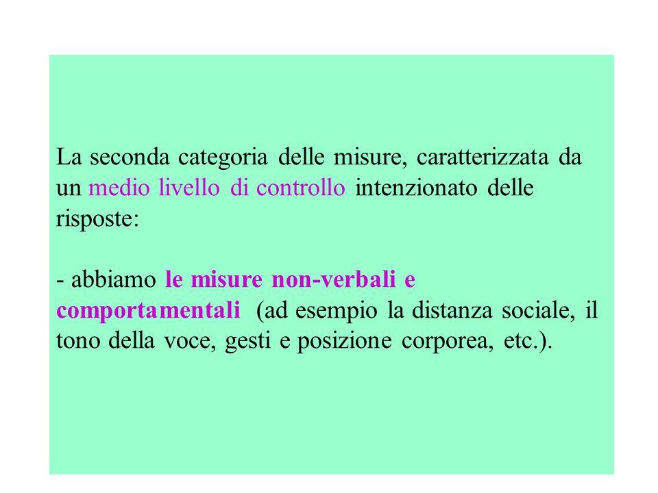 La seconda categoria delle misure, caratterizzata da un medio livello di controllo intenzionato delle risposte: - abbiamo le misure non-verbali e comp